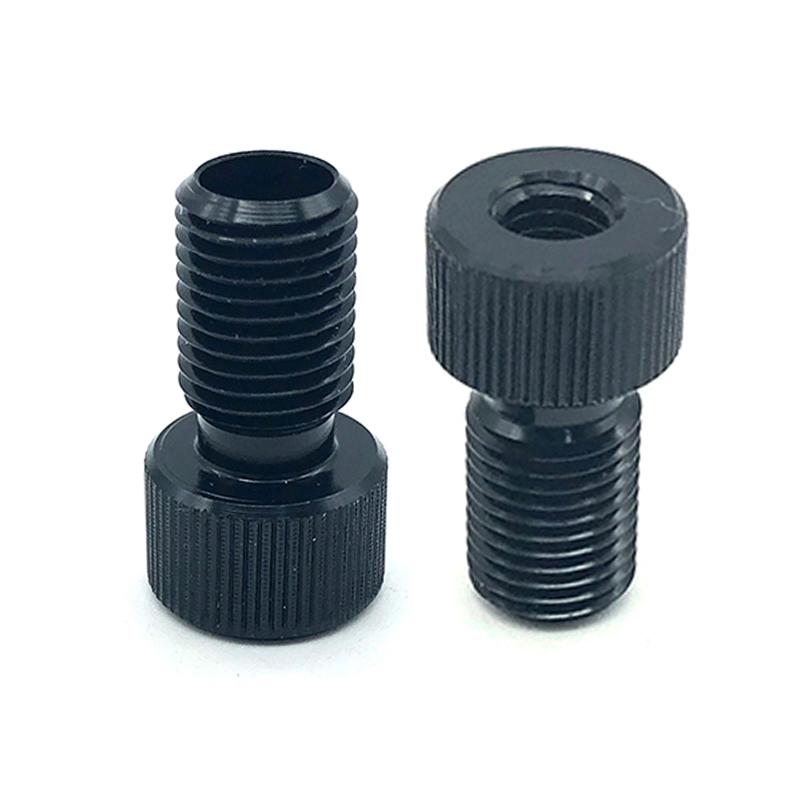 Custom Aluminum knurled hollow screws black Female Thread Adapter Screws